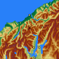 Nearby Forecast Locations - Mt Aspiring NP - карта