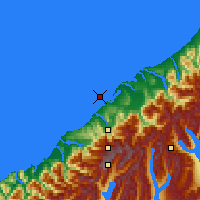 Nearby Forecast Locations - Ōkārito Lagoon - карта